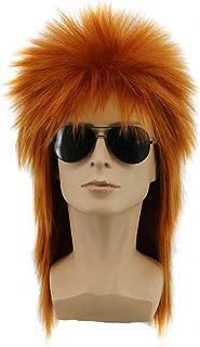 Yuehong Heavy Metal Halloween 70s 80s Costumes For Men Women Wigs Spiked Rocker Wig Mullet Style (Brown)