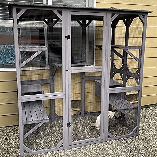 Catio Outdoor Cat Enclosure Large Walk in Cat Kennel Kitten Cage with Platforms and Small Houses