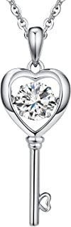 ZowBinBin Sterling Silver Dancing Cubic Zirconia Pendant Necklace Perfect Gift for Christmas Day/Valentine's Day