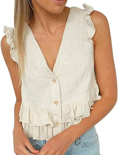 Camiseta para Mujer Blusa con Cuello En V Sólida Blusa Ropa ...