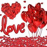 SANBLOGAN Rot Herz Luftballons Kit, 2000 Rosenblätter+10 Rot Folienballon+'LOVE'' Folienballon Romantische Deko Set für Romantische Hochzeit Deko Freundin Geburtstag Hochzeitsantrag Brautdusche Party