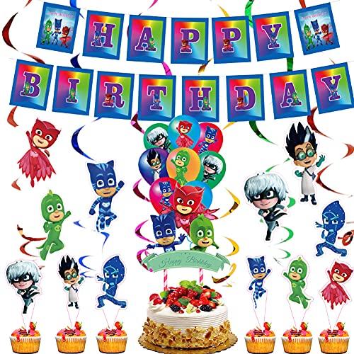 CYSJ PJ Masks Cumpleaños Theme Party Supplies, Globos Decoraciones, Decoración temática, Cake Topper para Fiestas Decoraciones, para Fiesta de cumpleaños Ducha Bodas Festival Decoración