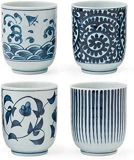Miya Set of 4 Assorted Designs Blue & White Japanese Teacups