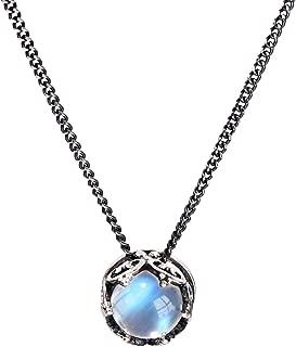 Luna Azure Vintage Style Sterling Silver 925 Moonstone Crown Pendant Necklace 18