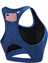 Loalirando Sportbeha voor dames, zonder beugel, met achterzak, voor telefoon, yoga, fitness, met afneembare pads