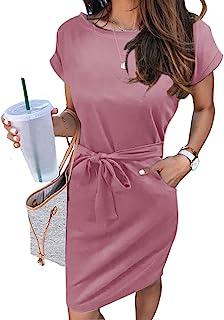 Women's Summer Striped Short Sleeve T Shirt Dress Casual Tie Waist Midi Dress