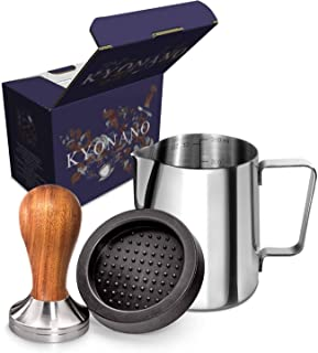 New! KYONANO Wood Espresso Tamper 58mm, Coffee Tamper with Sandalwood Handle, Incl. Free Milk Frothing Pitcher 12oz/350ml, Espresso TamperMat
