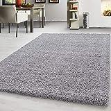 Teppich hochflor Shaggy Teppich modern einfarbig langflor Wohnzimmer teppiche, Maße:240 cm x 340 cm, Farbe:Hellgrau