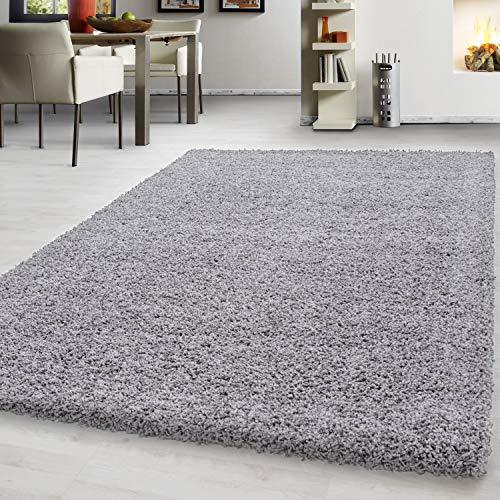 Teppich hochflor Shaggy Teppich modern einfarbig langflor Wohnzimmer teppiche, Maße:120 cm x 170 cm, Farbe:Hellgrau