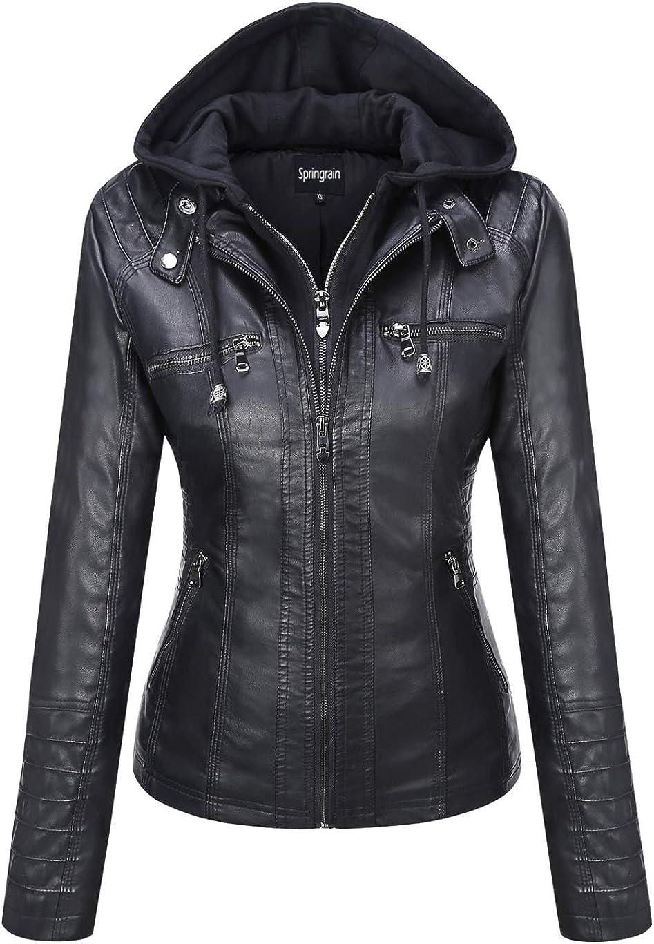 Springrain Women's Casual Stand Collar Detachable Hood PU Leather Jacket