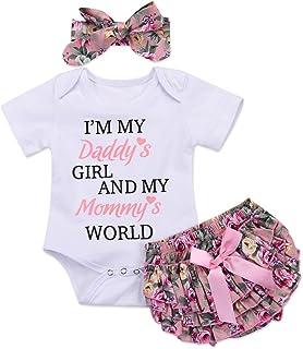 Honykids 3PCS Newborn Baby Girl Romper Jumpsuit Bodysuit...