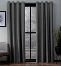 Exclusive Home Curtains London Textured Linen Thermal Window Curtain Panel Pair with Grommet Top, 54x108, Charcoal, 2 Piece