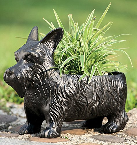 Ebros Black Scottish Terrier Dog Garden Pot Planter Statue 12.5' Long Made of Resin Outdoor Patio Decorative Container Box for Flowers Plants Nursery