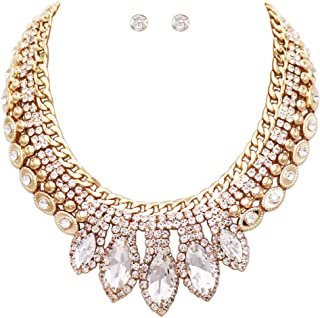 Rosemarie Collections Women's Statement Classic Style Marquise Crystal Rhinestone Necklace and Earrings Bridal Jewelry Set