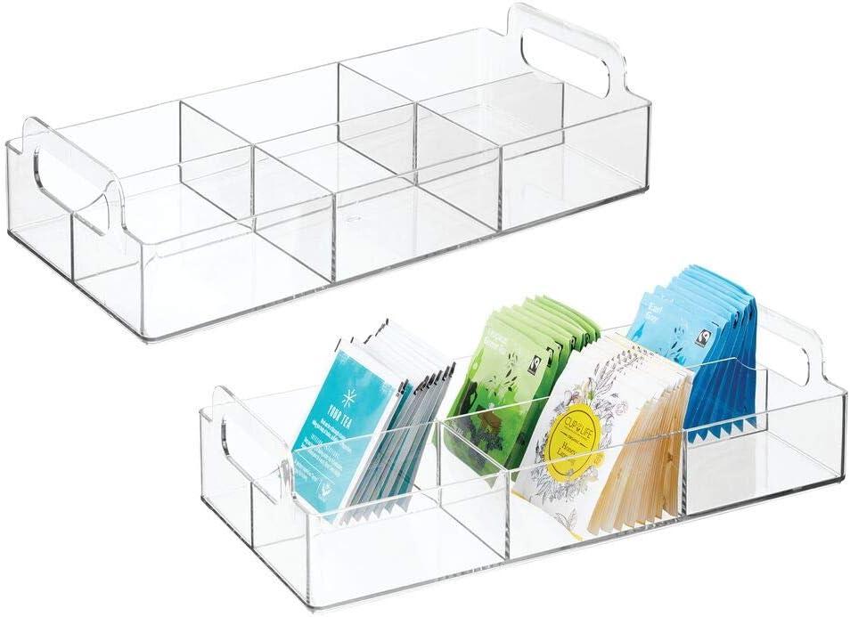 High quality new mDesign Compact Plastic Tea Storage Organizer Caddy - Popular product Bin Tote 6