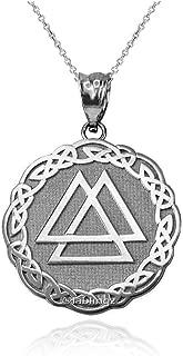 Sterling Silver Celtic Valknut Pendant Necklace