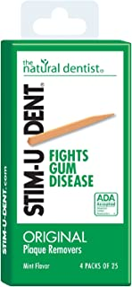 Natural Dentist Stim-U-Dent Original Plaque Removers Mint - 100 Toothpicks - Case of 12