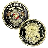FunYan Semper Fidelis US Marine Corps Devil Dog Challenge Coins Gifts for Marines