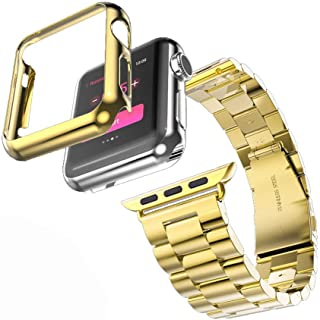 HUANLONG Compatible with Apple Watch Band Series 1/2/3/4, Stainless Steel Strap Band w/Adapter+Case Cover Compatible for iWatch 40/44mm (H Gold 40mm)