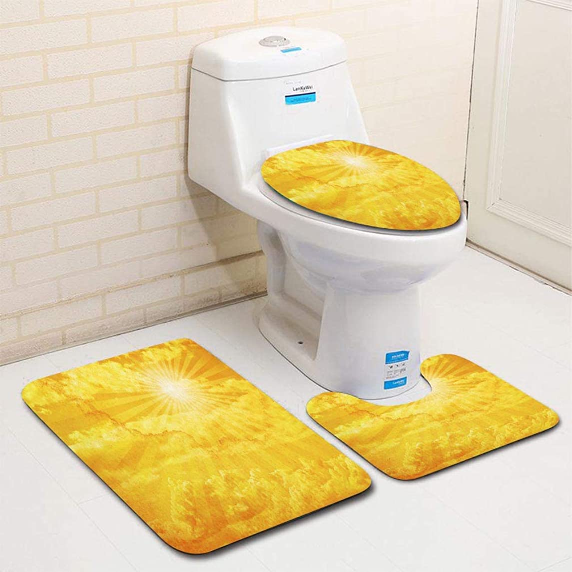 MTSJTliangwan Home Bathroom 3 Piece Sets, Included Bath Area Rug+Contour Mat+Lid Toilet Seat Cover Yellow Watercolor of The Sun Bursting Through Clouds Flannel Carpet