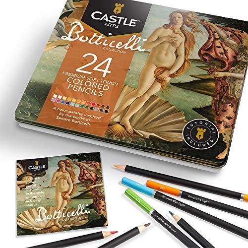Castle Arts - Set di 24 matite colorate per disegno ispirato a Botticelli
