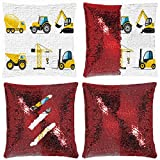 Huayuanhurug Cartoon Style Heavy Machinery Truck Crane Digger Mixer Tractor Construction Sequin Throw Pillow Case Reversible Mermaid Pillow Cover Decorative Case 18 x 18 in