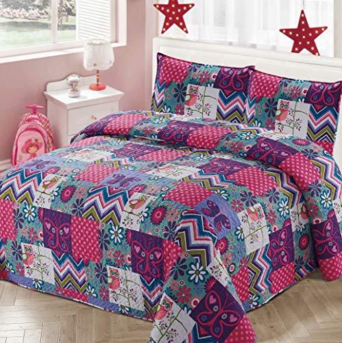 Better Home Style Kinder-/Mädchen-Tagesdecke-Set mit Bettüberwurf & Schmetterlingen, mit Punkten, Zickzackmuster & Nachteule