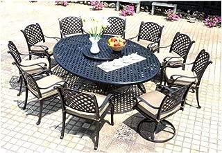 Cast Aluminum Dining Set 12 Piece Outdoor Patio Furniture Nassau 70