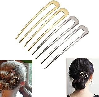 Luckycivia 4 Pcs U-Shape Hairpins, Simple Metal U Shaped Hair Pin, Vintage Hair Stick, Hairstyle Chignon for Women Girls
