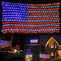 Dingfu American Flag Waterproof Led Flag Net Lights for Independence Day, Memorial Day Garden Decoration