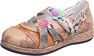 ❥Women's Casual Summer Round Toe Floral/Serpentine Print Flat Slip-On Loafer Shoes Pea Shoes Boat Shoes PU Shoes