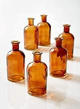 Serene Spaces Living Amber Medicine Bottle Bud Vases, Set of 6 - Antique Glass Bottles, 5.25