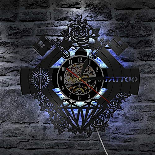 WYLYSD LED Reloj de Pared Grande Tattoo Studio Sign Tattoo Silent Wall Clcok Tattoo Shop Tattoo Machine Decoración de Pared Hipster Men