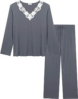 Women's Soft Pajamas Set Long Sleeve Pjs Top and Pants Loungewear