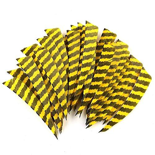 VERY100 Trueflight Naturfedern 4 Zoll barred Shield Gestreift RW (Gelb schwarz)