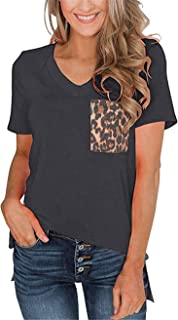 LAMISSCHE Womens Leopard Pocket Summer Tops Short/Long Sleeves V Neck T Shirt Casual Basic Tees