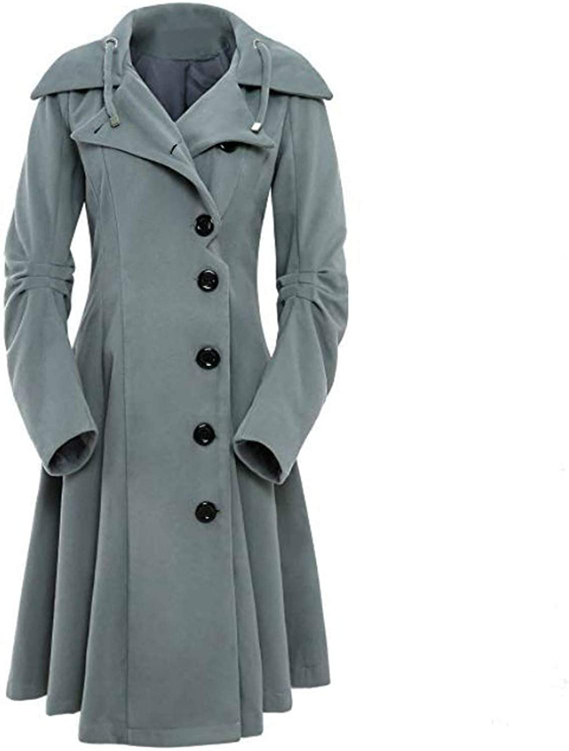 Women's Long Ruched Sleeve Wool Mid Hoodie Casual Button Down Pleated Long Trench Jacket Solid Color Pea Coat