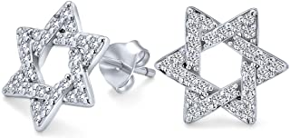 Hanukah Open Star Of David Religious Jewish Pave CZ Cubic Zirconia Stud Earrings For Women 925 Sterling Silver