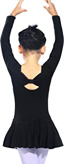 TanzenDan Girls Long Sleeve Ballet Leotard for Dance Back Bowknot Skirted Leotards for Gymnastics Athletic Dress