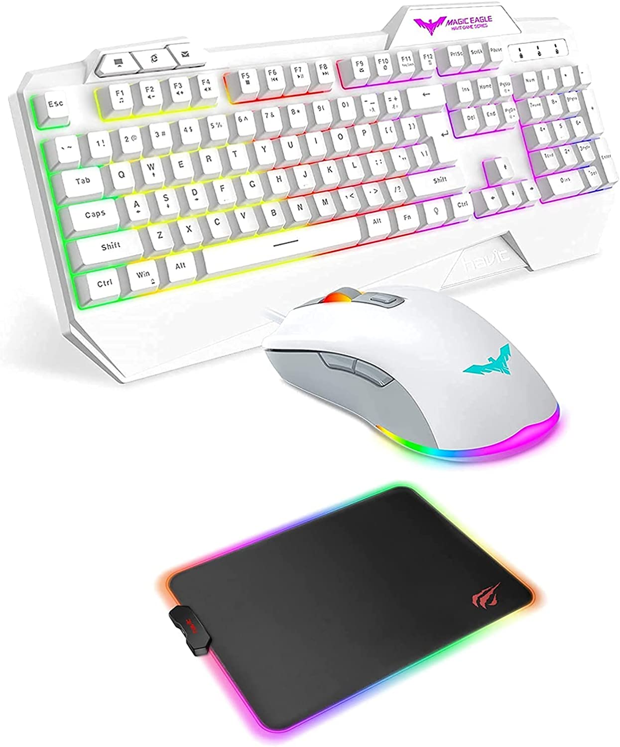 Havit White Rainbow Backlit Wired Gaming Keyboard Mouse Combo and Havit RGB Gaming Mouse Pad for Laptop Computer PC Games