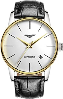 Guanqin Men Analog Business Automatic Self-Winding Mechanical Steel/Leather Wrist Watch Date (12 Gold White Black)
