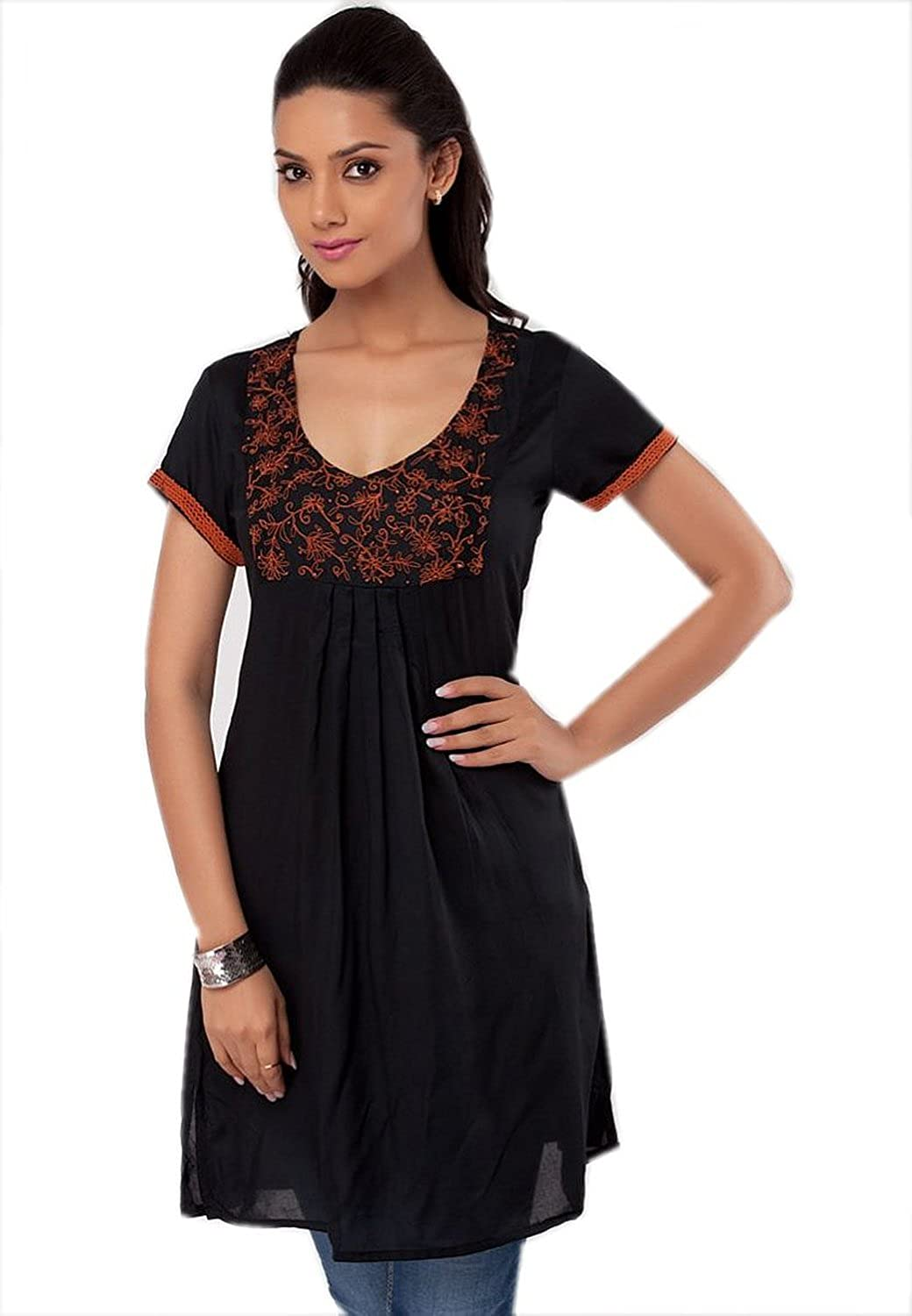 1545 Designs Women's Plus Size Black Cotton Tunic V Neck Embroidered Top