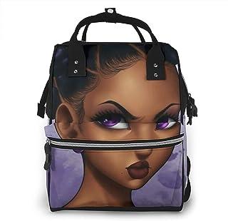 Risating Mummy Backpack - Afrikaanse zwarte meisje luier pad fles zakken multifunctionele duurzame twill canvas voor mama ...