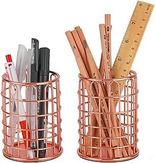 Denozer Pen Holder Wire Metal Pencil Cup for Desk Office,Rose Gold, 2 Pack