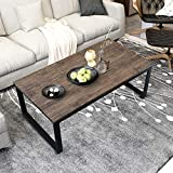 Aingoo Rustic Coffee Table with Metal Frame for Living Room Garden 43', Dark Brown CT-01