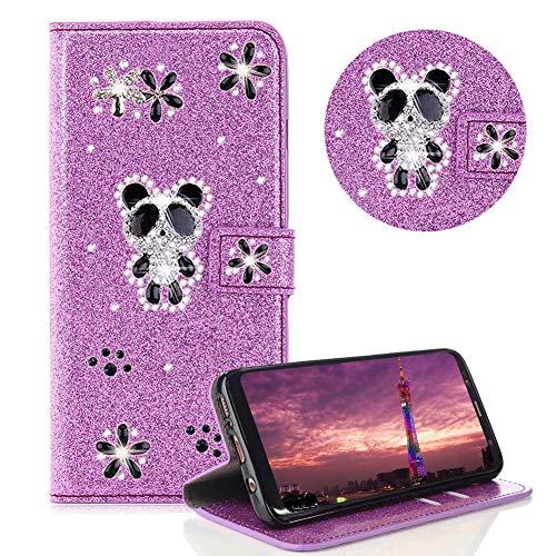 Glitzer Strass Brieftasche für Galaxy A8 2018,Lila Leder Handyhülle für Galaxy A8 2018,Moiky Luxus 3D Magnetisch Kristall Niedlich Panda Blumen Diamant Hülle mit Kartenfächer Ständer