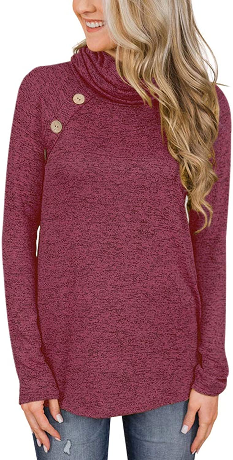 AIYIQIGE Women's Long Sleeve Turtleneck Top Knitted TShirt Sweater Tunic Top