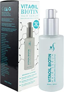 VitaOil Biotin Hair Serum for Hair Growth - Hair Loss Serum for Volume - Also Contains Argan Oil, Aloe Vera and Vitamin E - Hair Regrowth Serum for Healthy Hair - 60 Ml / 2 Fl. Oz.