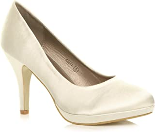75123e7c62 Womens Ladies mid high Heel Platform Party Work Evening Party Prom Wedding  Bridal Court Shoes Pumps