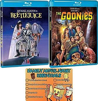 Beetlejuice and Goonies Classic Family Movie Blu-ray Bundle with Bonus Art Card